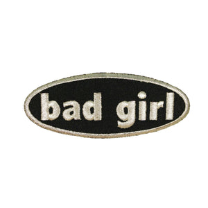 Bad Girl Silver Name Tag Patch Saying Symbol Sign Embroidered Iron On Applique