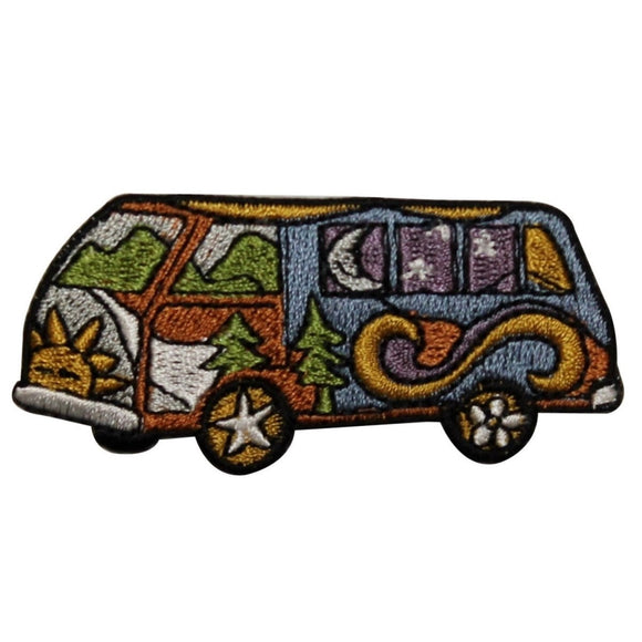 ID 0026 Hippie Van Patch Travel Peace Car Explore Embroidered Iron On Applique