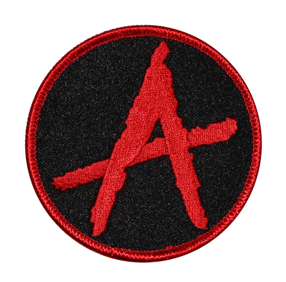 Anarchy Symbol Badge Patch Rebellion Biker Resist Embroidered Iron On Applique
