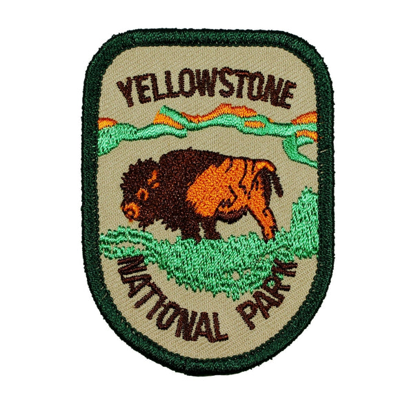 Yellowstone National Park Badge Patch Travel Bison Embroidered Iron On Applique