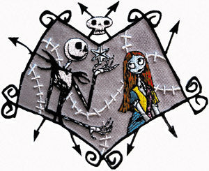 Disney Nightmare Before Christmas Jack in Love Patch Movie Embroidered Iron On