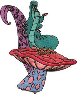 Caterpillar On Mushroom Patch Disney Alice in Wonderland Worm Iron On Applique