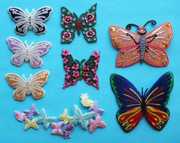 ID 2502 Lot of 8 Butterfly Embroidered Iron On Applique Patches