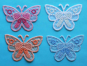 ID 2512 Lot of 4 Butterfly Embroidered & See Thru Iron On Applique Patches