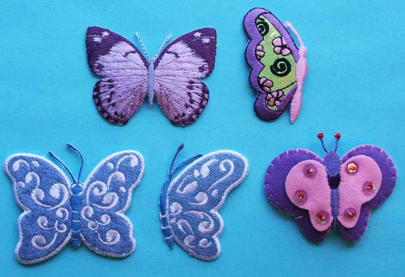 ID 2500 Lot of 5 Butterfly Embroidered Iron On Applique Patches