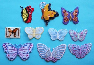 ID 2505 Lot of 10 Butterfly Embroidered Lace Iron On Applique Patches