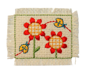 ID 0412A Ladybug and Sunflower Patch Garden Weave Embroidered Iron On Applique