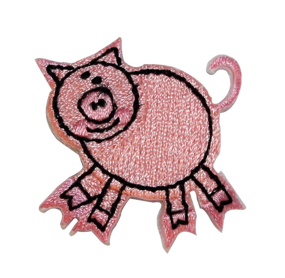 ID 0721A Cartoon Pig Cutout Patch Farm Animal Pet Embroidered Iron On Applique