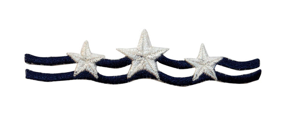 ID 9036 Star and Wave Strip Band Patch Trim Design Embroidered Iron On Applique