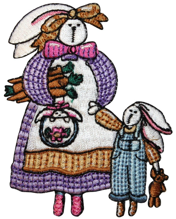 ID 3331 Mama and Baby Bunny Patch Easter Farm Rabbit Embroidered IronOn Applique