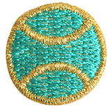 ID 1555 Lot of 3 Teal Tennis Ball Patch Sports Embroidered Iron On Applique