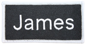 "James ""James"" Name Tag Uniform Identification Badge Embroidered Iron On Badge Applique Patch"