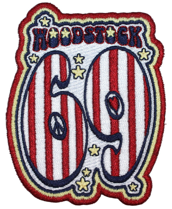 Woodstock 69 Patch Music Festival Hippie Guitar Embroidered Iron On Applique