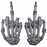 White Skeleton Hand Middle Finger Patches Kreepsville Set Of 2 Iron On Appliques