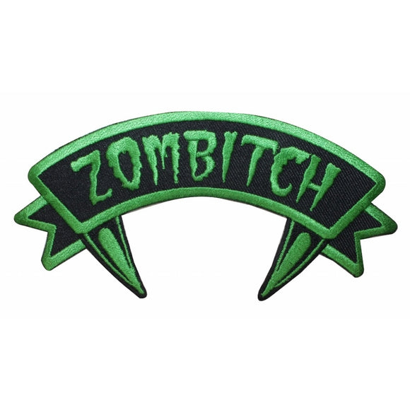 Zombitch Name Tag Zombie Crazy Fangs Kreepsville Embroidered Iron On Applique Patch