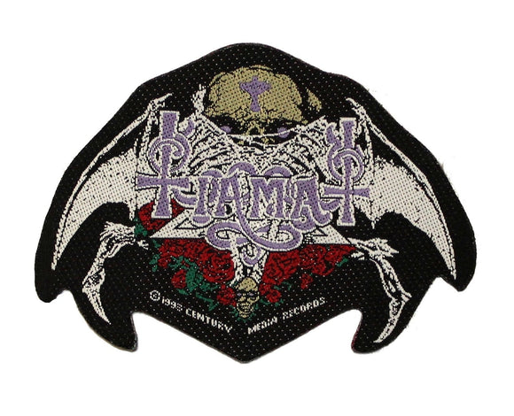 Tiamat Logo Patch Skull and Roses Gothic Metal Band Music Woven Sew On Applique