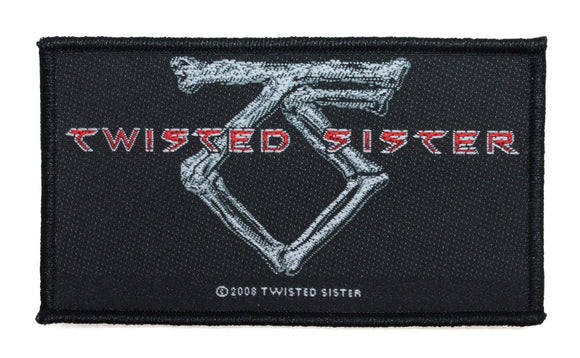 Twisted Sister Bones Logo Patch Heavy Metal Band Music Woven Sew On Applique