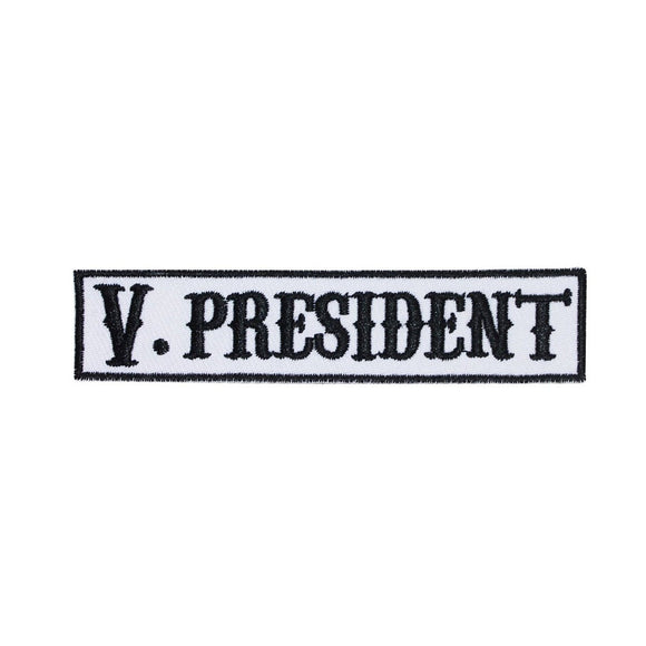 V. President SOA Name Tag Vice Patch Biker Gang Embroidered Iron On Applique