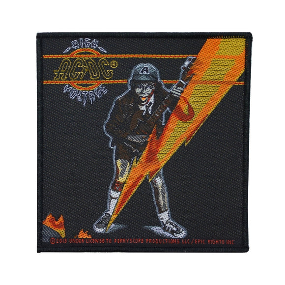 AC/DC ACDC High Voltage Lightning Bolt Patch Angus Young Band Sew On Applique