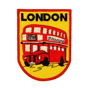 London Double Decker Bus Patch British Travel Badge Embroidered Iron On Applique