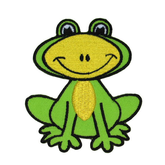 Happy Frog Patch Smiling Amphibian Animal Cartoon Embroidered Iron On Applique
