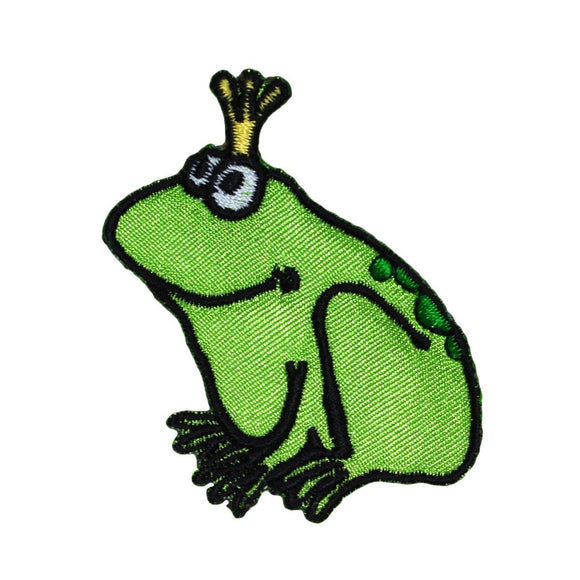 Frog Prince Patch King Crown Amphibian Fairy Tale Embroidered Iron On Applique