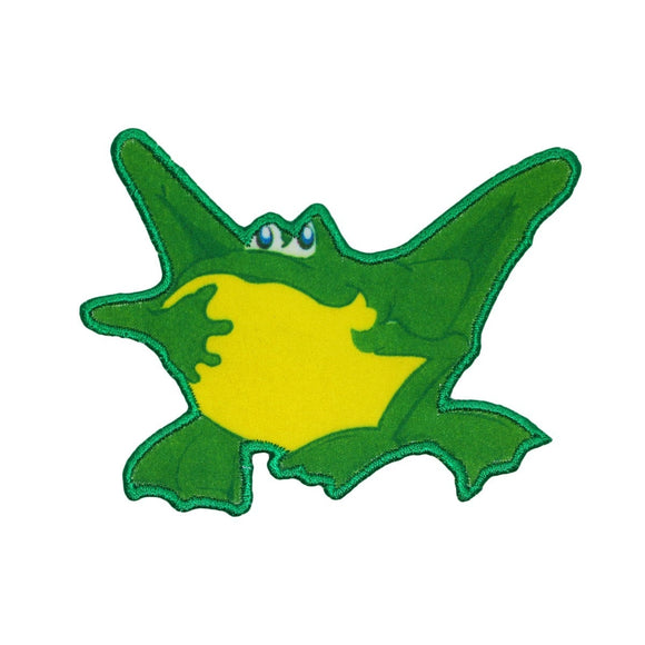 Green Frog Sitting Patch Bullfrog Animal Kids Craft Embroidered Iron On Applique