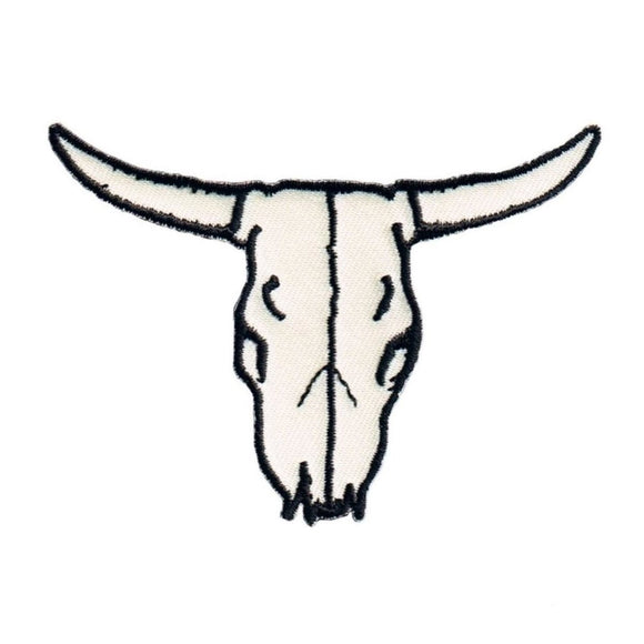 Bull Skull Bone White Patch Western Cattle Ranch Embroidered Iron On Applique