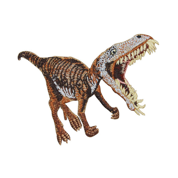 Velociraptor Dinosaur Patch Jurassic Carnivore Bite Embroidered Iron On Applique