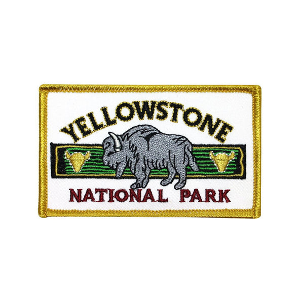 Yellowstone National Park Patch Travel Badge Bison Embroidered Iron On Applique