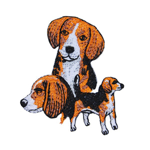 Beagle Multi Dog Patch Hound Breed Pet Portrait Embroidered Iron On Applique