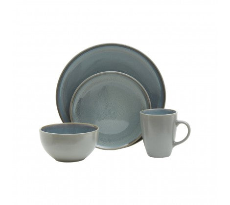 16pc Light Green Grey Stoneware Dinner Set