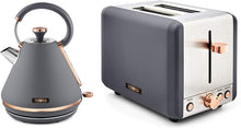 Load image into Gallery viewer, Tower Cavaletto Grey & Rose Gold Kettle and 2 Slice Toaster Set