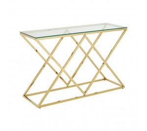 Allure Gold Finish Console Table