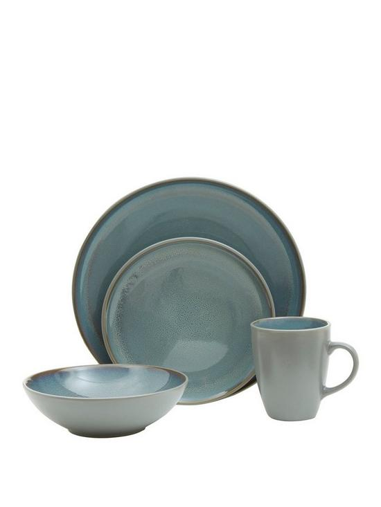 16pc Light Blue Grey Stoneware Dinner Set