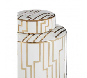 White & Gold Ceramic Jar
