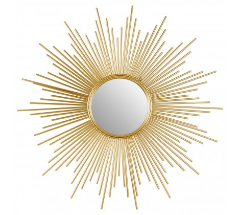 Gold Finish Sunburst Wall Mirror