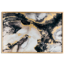 Load image into Gallery viewer, Marble Effect Black And Gold Glass Image In Gold Frame