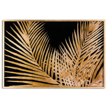 Load image into Gallery viewer, Large Metallic Palm Glass Image In Gold Frame