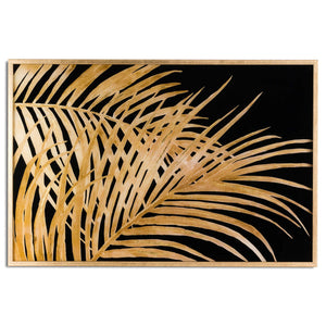 Large Metallic Palm Leaf Glass Image In Gold Frame