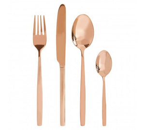 16Pc Rose Gold Finish Cutlery Set