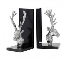 Load image into Gallery viewer, Set Of 2 Deer Bookends With Marble Base