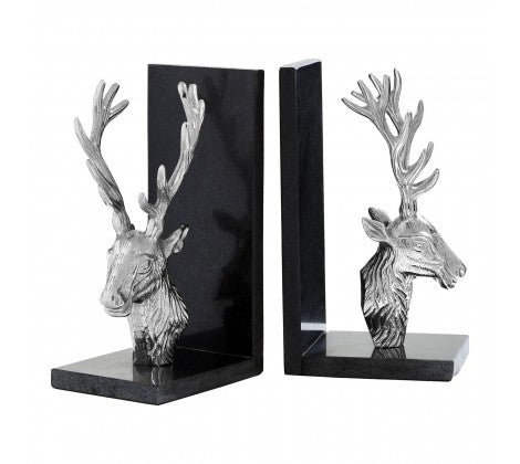 Set Of 2 Deer Bookends With Marble Base