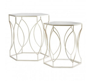 Champagne Finish Side Tables - Set Of 2