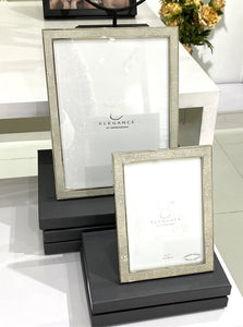 Nickel Plated Cream Faux Shagreen Premium Picture Frame with Gift Box