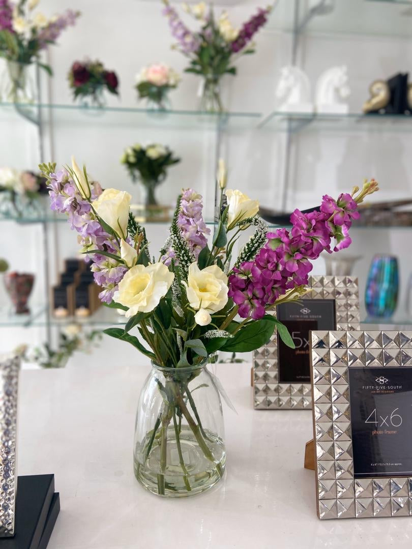 Stock & Lisianthus in Vase⁣