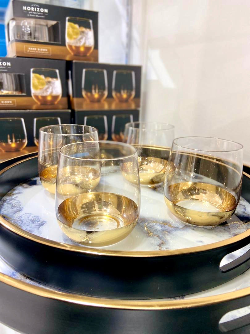Gold Dipped Set of 4 Glass Tumblers