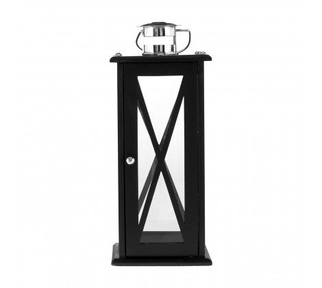 Hampstead Lantern Black Criss Cross MDF & Stainless Steel