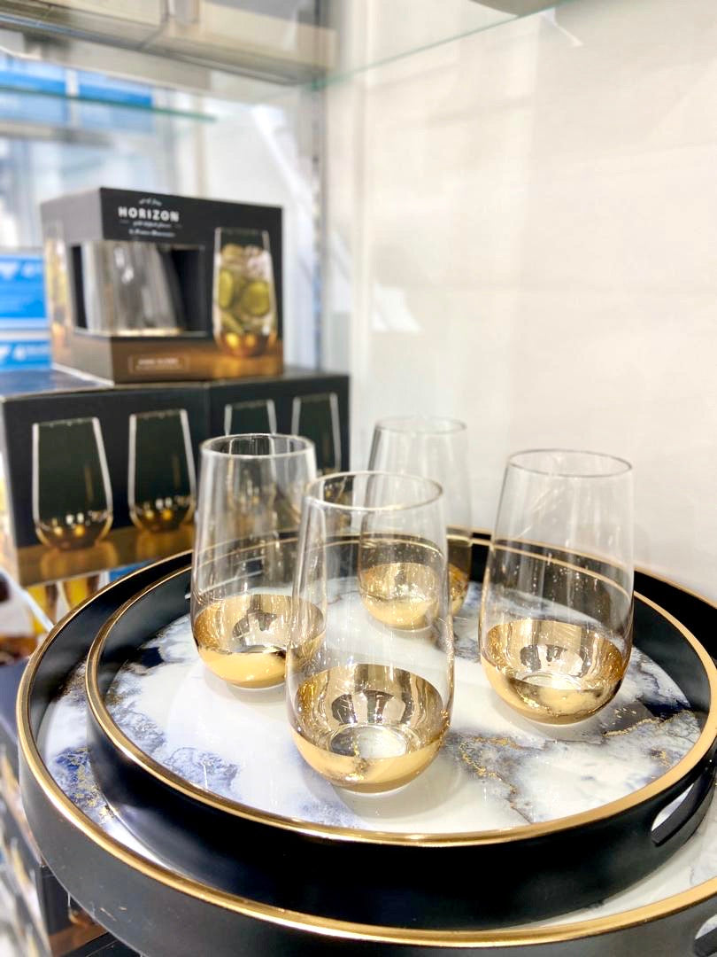Gold Dipped Set of 4 Highball Glasses