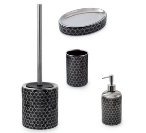 Black & SIlver Honeycomb Toilet Roll Holder & Storage